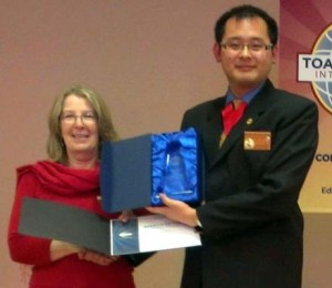 Area 30 Contest - Moira Beaton, Winner Evaluation Contest and Kevin Lee, Area 30 Governor