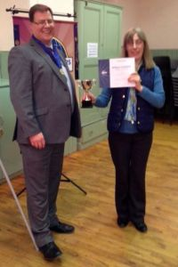 Pauline Dix - Winner of International Speech Contest and Brian Duffy, President Waverley Communicators