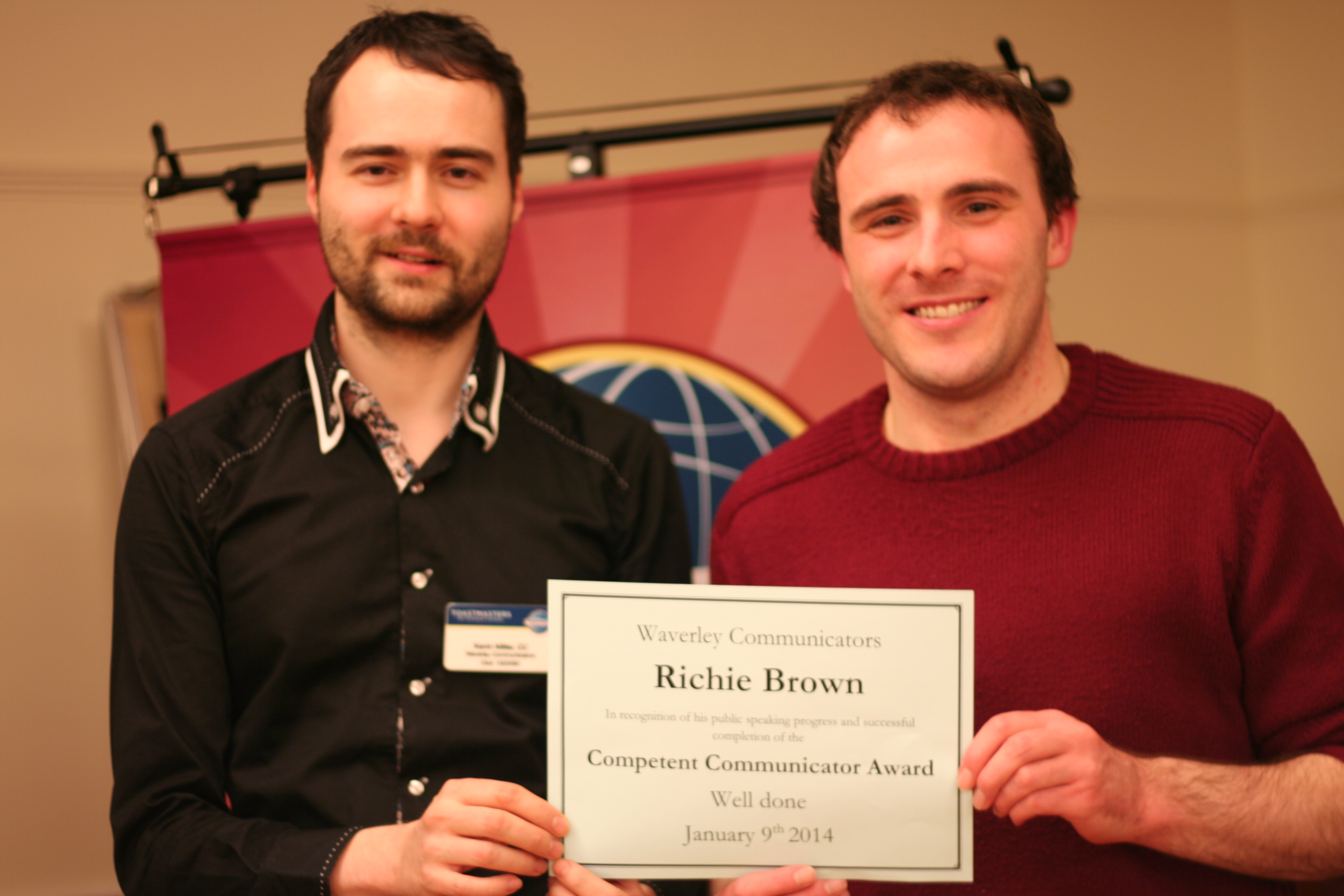 Congratulations to our first Competent Communicator of 2014 – Ritchie Brown  CC.